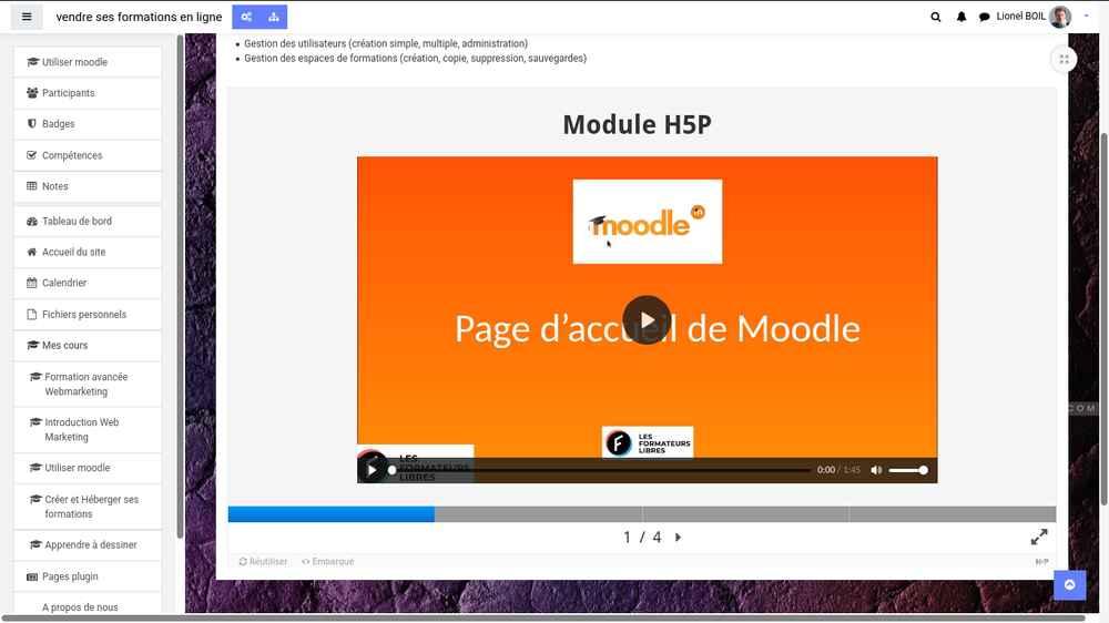 module h5p intégré chez les formateurs libres